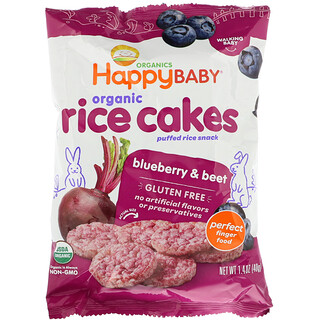 Happy Family Organics, Organic Rice Cakes, Puffed Rice Snack, Blueberry & Beet, 1.4 oz (40 g)