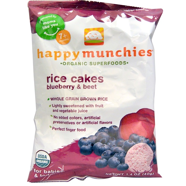 Nurture Inc. (Happy Baby), happy munchies, Rice Cakes, Blueberry & Beet, 1.4 oz (40 g)