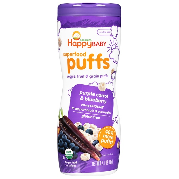 Happy Family Organics, Organics, Superfood Puffs, Purple Carrot & Blueberry, 2.1 oz (60 g)