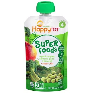 Nurture Inc. (Happy Baby), Happytot, Superfoods, Organic Apples, Spinach, Peas & Broccoli + Super Chia, 4.22 oz (120 g)