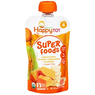Happy Family Organics, Happytot, Organic Superfoods, Pears, Bananas, Sweet Potato & Pumpkin + Superchia, 4.22 oz (120 g)