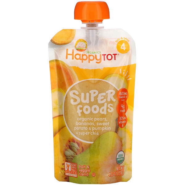 Happy Tot, Superfoods, Pears, Bananas, Sweet Potato & Pumpkin + Superchia, 4.22 oz (120 g)