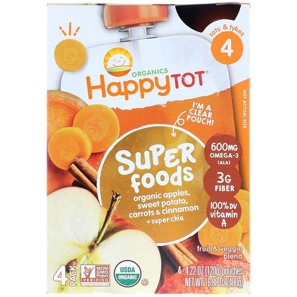 Happy Family Organics, HappyTot, SuperFoods, Organic Apples, Sweet Potato, Carrots & Cinnamon + Superchia, 4 Pouches - 4.22 oz (120 g) Each (Discontinued Item)