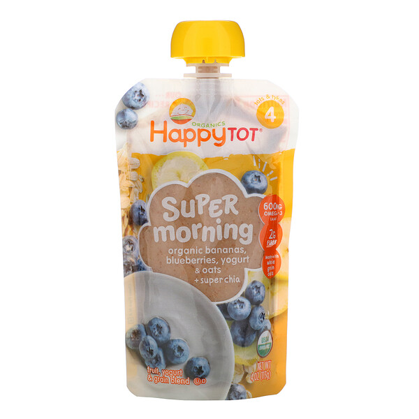 Happy Family Organics, Happy Tot, Super Morning, Fruit, Yogurt & Grain Blend, Organic Bananas, Blueberries, Yogurt & Oats + Super Chia, Stage 4, 4 oz (113 g)
