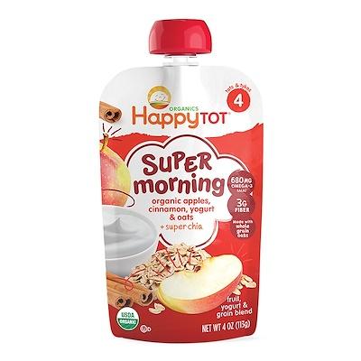 Nurture Inc. (Happy Baby) 快樂Tot,超級早晨,水果,酸奶和穀物混合,有機蘋果,肉桂,酸奶和燕麥,4階段,4盎司(113克)