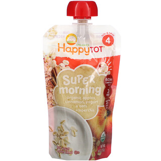 Happy Family Organics, HappyTot® 活力早晨,4 段,含有機蘋果/肉桂/優酪乳/麥片 + 超級奇亞籽,4 盎司(113 克)