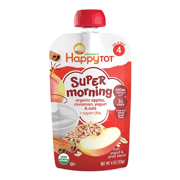 Happy Tot, Stage 4, Super Morning, Fruit, Yogurt & Grain Blend, Organic Apples, Cinnamon, Yogurt & Oats, 4 oz (113 g)