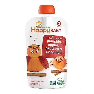 Nurture Inc. (Happy Baby) 有機嬰兒食品,南瓜,蘋果,桃子和肉桂,第2階段,6 個月以上,4盎司(113克)