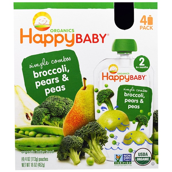 Happy Family Organics, Organic Baby Food, Simple Combos, Broccoli, Pears & Peas, Stage 2, 4 Pouches, 4 oz (113 g) Each (Discontinued Item)