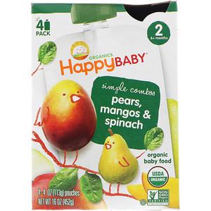 Нэйчэ Инк (Хэппи Бэби), Organic Baby Food, Pears, Mangos & Spinach, Stage 2, 6+ Months, 4 Pack — 4 oz (113 g) Each отзывы