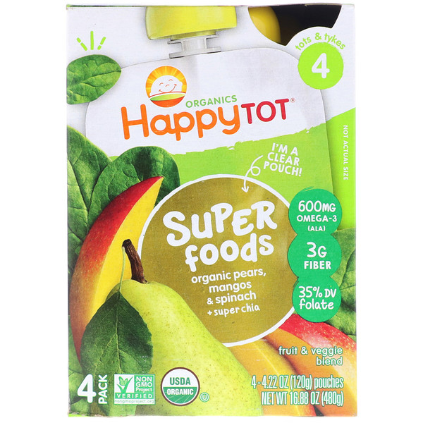 Happy Family Organics, Organic HappyTot, Super Foods, Organic Pears, Mango & Spinach + Super Chia, Stage 4, 4 Pack, 4.22 oz (120 g) Each (Discontinued Item)