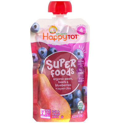 Happy Family Organics Organic Happy Tot, Super Foods, Organic Pears, Beets & Blueberries + Super Chia, Stage 4, 4 Pack, 4.22 oz (120 g) Each