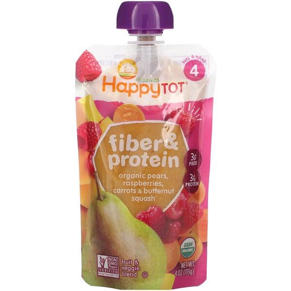 Happytot, Fiber & Protein, Stage 4, Organic Pears, Raspberries, Carrots & Butternut Squash, 4 oz (113 g)