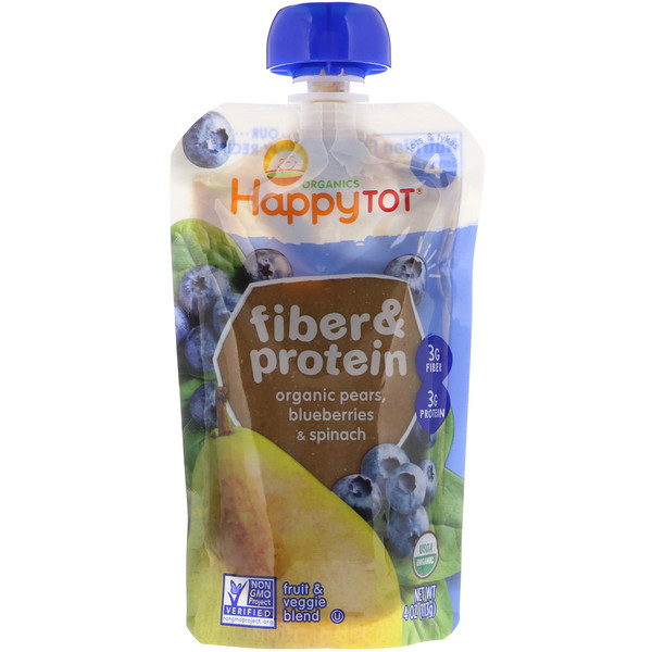 Happy Family Organics, Happytot, Fiber & Protein, Organic Pears, Blueberries & Spinach, 4 oz (113 g)