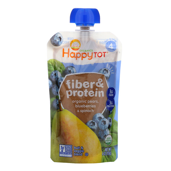 Happytot, Fiber & Protein, Organic Pears, Blueberries & Spinach, 4 oz (113 g)