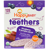 Отзывы о Happy Family Organics, Organic Teethers, Gentle Teething Wafers, Sitting Baby, Blueberry & Purple Carrot, 12 Packs, 0.14 oz (4 g) Each