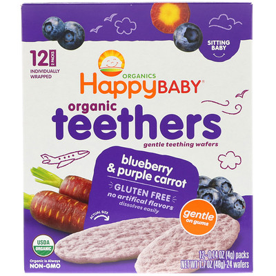Nurture Inc. (Happy Baby) Organic Teethers, Gentle Teething Wafers, Blueberry & Purple Carrot, 12 Packs, 0.14 oz (4 g) Each