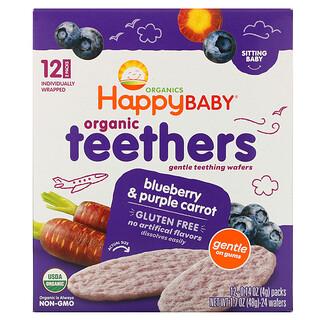 Happy Family Organics, عضاضة أسنان عضوية، رقائق التسنين اللطيفة، للرضع، بالتوت البري والجزر الأرجواني، 12 عبوة، 0.14 أونصة (4 جم) لكل منهما