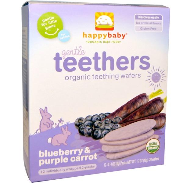 Nurture Inc. (Happy Baby), Gentle Teethers, органические вафли для прорезывания зубов, черника и фиолетовая морковь, 12 шт (по 2 в пакете), 4 г (0,14 унций) каждая