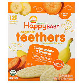 Happy Family Organics, عضاضات أسنان عضوية، رقائق ويفر التسنين اللينة، للأطفال بعمر الجلوس، بالبطاطا والموز، 12 عبوة، 0.14 أونصة (4 جم) لكل منها