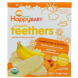 Nurture Inc. (Happy Baby), Organic Teethers, Gentle Teething Wafers, Sweet Potato & Banana, 12- (2 Packs), 0.14 oz (4 g) Each
