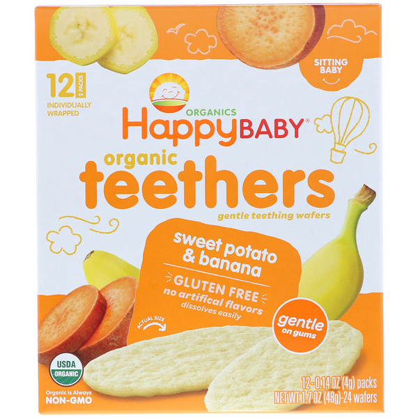 Happy Family Organics, Organic Teethers, Gentle Teething Wafers, Sweet Potato & Banana, 12 Packs, 0.14 oz (4 g) Each