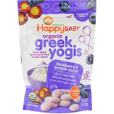 Nurture Inc. (Happy Baby) Organic, Greek Yogis, Blueberry Purple Carrot, 1 oz (28 g)