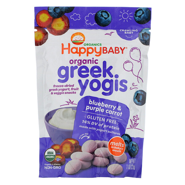 Organic, Greek Yogis, Blueberry Purple Carrot, 28 גר' (1 oz)