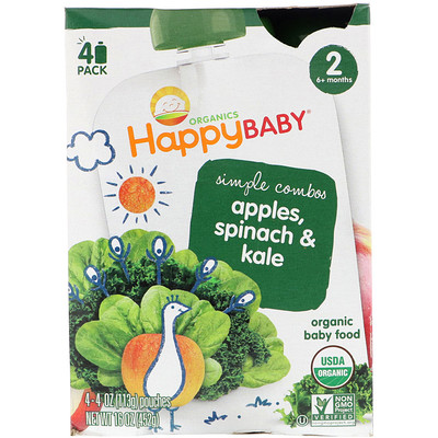 Organics, Stage 2, Simple Combos, Apples, Spinach & Kale, 4 Pouches, 4 oz (113 g) Each