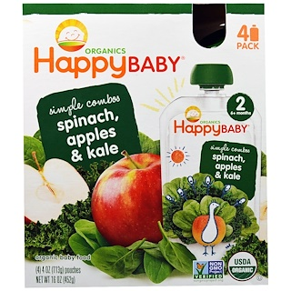 Nurture Inc. (Happy Baby), Organic Baby Food, Stage 2, Simple Combos, Spinach, Apples & Kale, 4 Pouches, 4 oz (113 g) Each