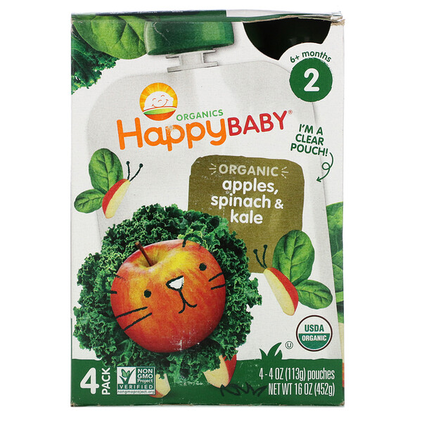 Happy Baby, Organics, Stage 2,  6+ Months, Apples, Spinach & Kale, 4 Pouches, 4 oz (113 g) Each