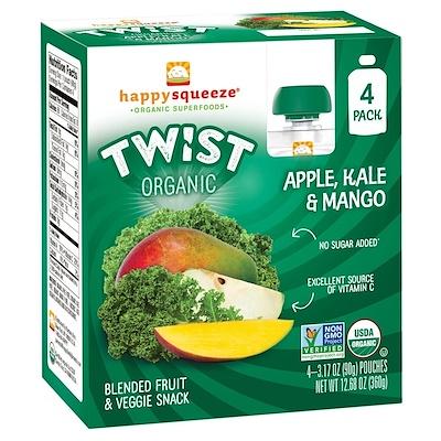 Happy Squeeze, органические суперпродукты, Twist, яблоко, капуста и манго, 4 упаковки, 3,17 унции (90 г) в каждой