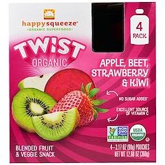 Nurture Inc. (Happy Baby), ハッピースクイズ、オーガニク・スーパーフード、ツイスト、有機リンゴ、ビーツ、イチゴ、キウイ、4袋、各3.17オンス(90 g)