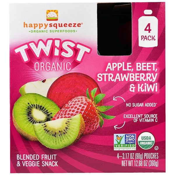 Happy Family Organics, Happy Squeeze, Organic Superfoods, Twist, Organic  Apple, Beet, Strawberry & Kiwi, 4 Pouches, 3.17 oz (90 g) Each