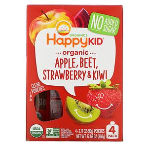 Нэйчэ Инк (Хэппи Бэби), Happy Kid, Organic Apple, Beet, Strawberry & Kiwi, 4 Pouches, 3.17 oz (90 g) Each отзывы покупателей