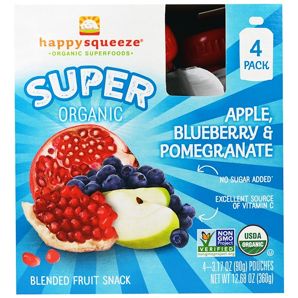Happy Family Organics, Happy Squeeze, Super Organic, Apple Blueberry & Pomegranate, 4 Pouch, 3.17 oz (90 g)