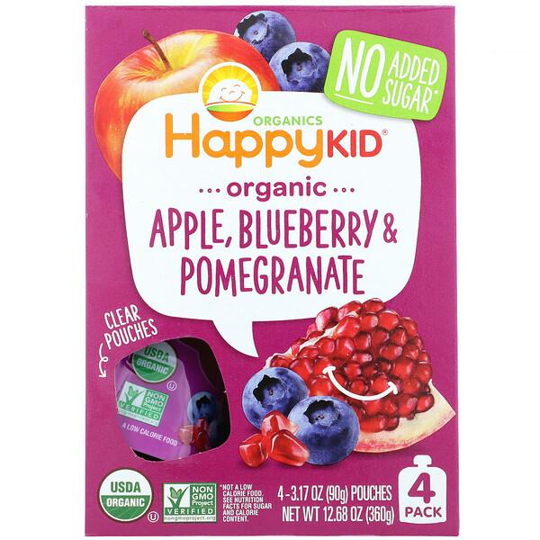 Happy Kid, Organic Apple, Blueberry & Pomegranate, 4 Pouches, 3.17 oz (90 g) Each