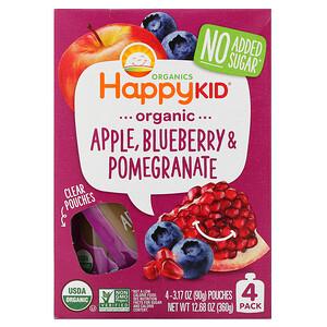 Нэйчэ Инк (Хэппи Бэби), Happy Kid, Organic Apple, Blueberry & Pomegranate, 4 Pouches, 3.17 oz (90 g) Each отзывы покупателей
