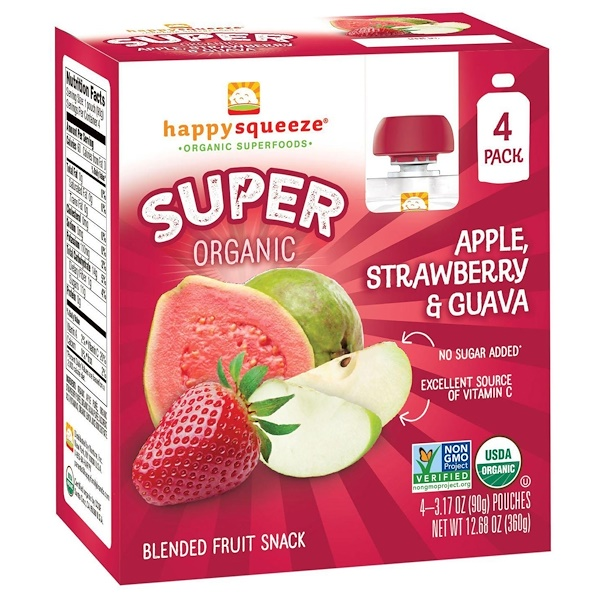 Happy Family Organics, Happy Squeeze, Organic Superfoods, Super Organic Apple, Strawberry & Guava, 4 Pouches, 3.17 oz (90 g) Each (Discontinued Item)