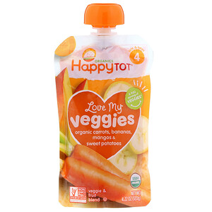 Happy Family Organics, Organics Happy Tot, Love My Veggies, Carottes, bananes, mangues et patates douces bio, 120 g