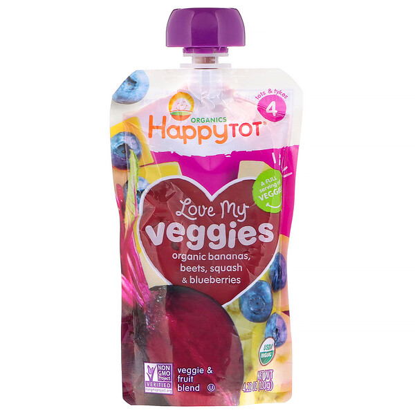 Organics Happy Tot, Love My Veggies, Organic Bananas, Beets, Squash & Blueberries, 4.22 oz (120 g)