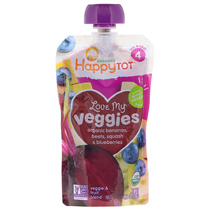 Happy Family Organics, Organics Happy Tot, Love My Veggies, Organic Bananas, Beets, Squash & Blueberries, 4.22 oz (120 g)'