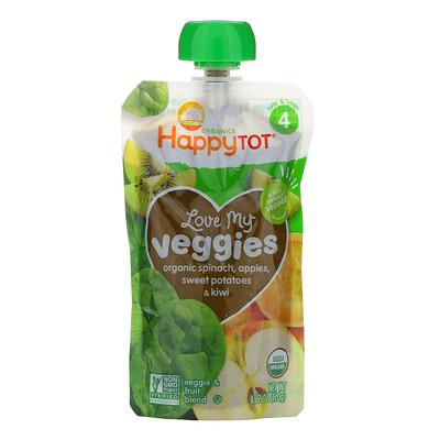 Happy Family Organics Organics Happy Tot, «Вкусные овощи», органическое пюре из шпината, яблок, батата и киви, 120г