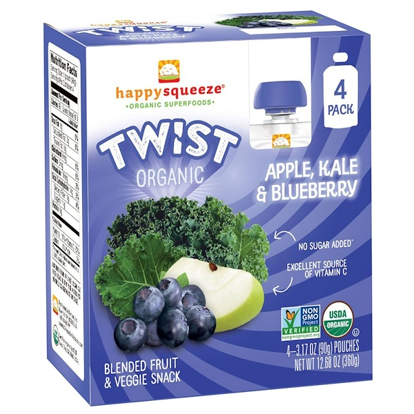 Happy Squeeze, Organic Superfoods, Twist, Organic Apple, Kale, & Blueberry, 4 Pouches, 3.17 oz (90 g) Each