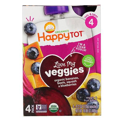Купить Happy Family Organics Happy Tot, Stage 4, Love My Veggies, Organic Bananas, Beet, Squash & Blueberries, 4 Pouches, 4.22 oz (120 g) Each