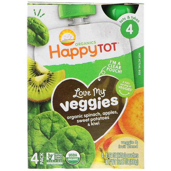 Happy Family Organics, Organics Happy Tot, Love My Veggies, Spinach, Apples, Sweet Potatoes & Kiwi, 4 Pouches, 4.22 oz (120 g) Each (Discontinued Item)