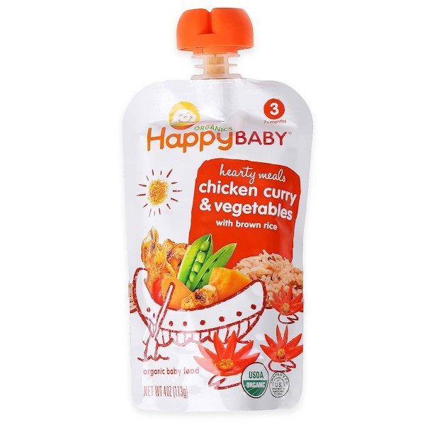 Happy Family Organics, Organic Baby Food, Chicken Curry & Vegetables with Brown Rice, Stage 3, 7+ Months, 4 oz (113 g) (Discontinued Item)