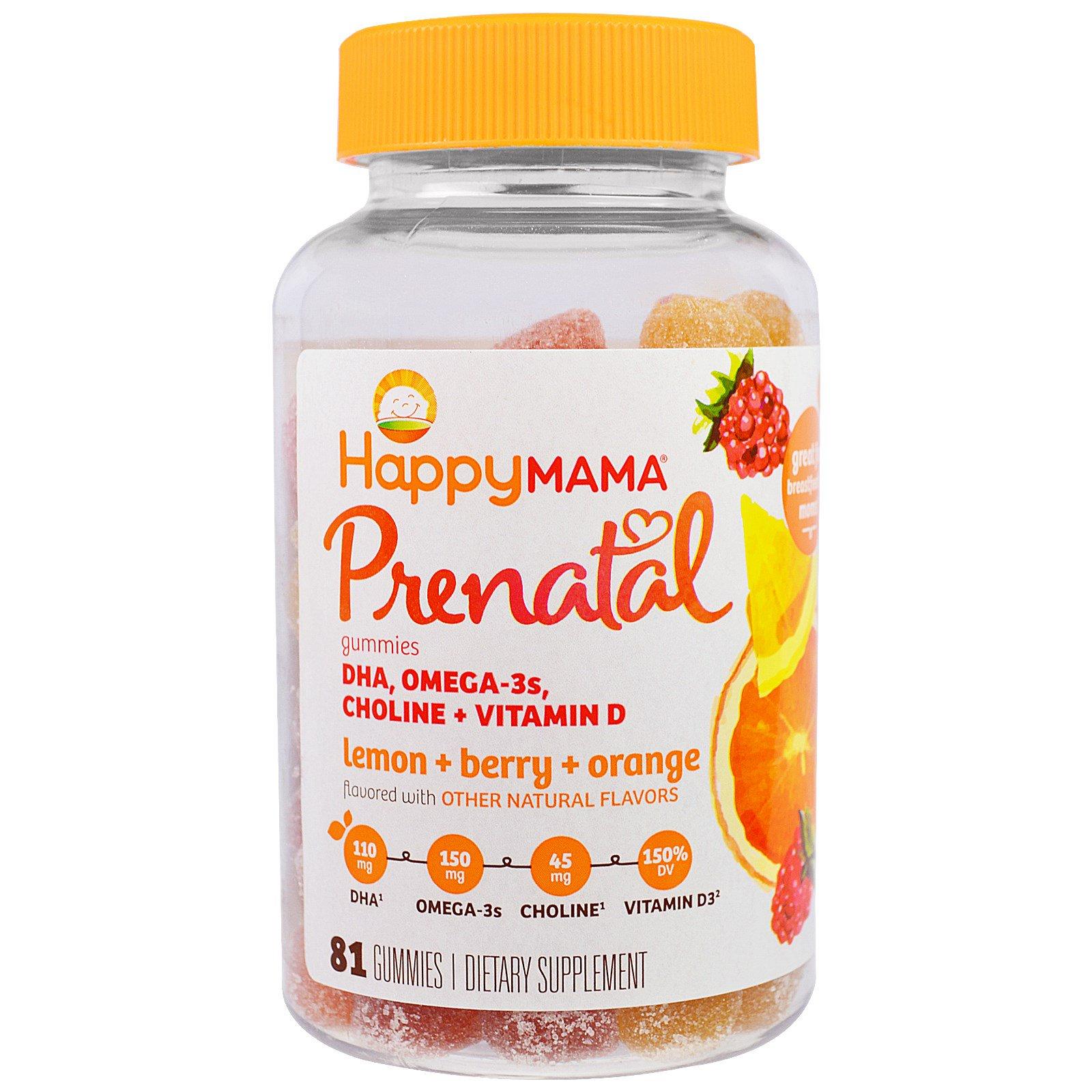 Nurture Inc. (Happy Baby), Happy Mama, Prenatal, DHA, Omega-3s, Choline + Vitamin D, 81 Gummies