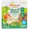 Happy Family Organics, Happytot, Fiber & Protein Soft-Baked Oat Bar, Organic Apples & Spinach, 5 Bars, 0.88 oz (25 g) Each
