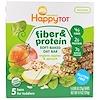 Happy Family Organics, ハッピートット、ファイバー&プロテイン・ソフトベイクド・オーツバー、オーガニック・リンゴ、ホウレンソウ、5本、0.88オンス(25g)